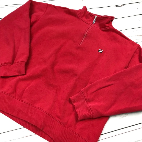 f3cf94e0e02b Fila Sweaters | Mens Retro Red Logo 14 Zip Pullover Sweater | Poshmark